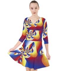 Mandelbrot Math Fractal Pattern Quarter Sleeve Front Wrap Dress