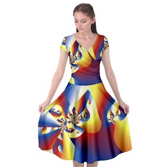Mandelbrot Math Fractal Pattern Cap Sleeve Wrap Front Dress