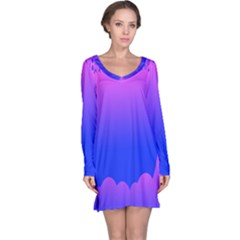 Abstract Bright Color Long Sleeve Nightdress