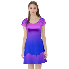 Abstract Bright Color Short Sleeve Skater Dress by Nexatart
