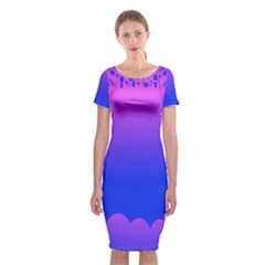 Abstract Bright Color Classic Short Sleeve Midi Dress