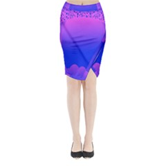 Abstract Bright Color Midi Wrap Pencil Skirt