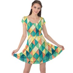 Background Geometric Triangle Cap Sleeve Dress