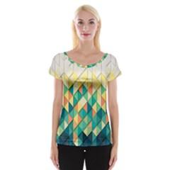 Background Geometric Triangle Cap Sleeve Tops