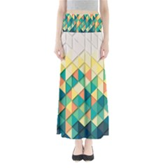 Background Geometric Triangle Full Length Maxi Skirt