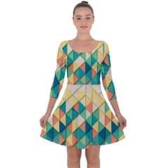 Background Geometric Triangle Quarter Sleeve Skater Dress