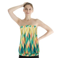 Background Geometric Triangle Strapless Top