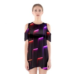 Mode Background Abstract Texture Shoulder Cutout One Piece