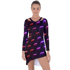 Mode Background Abstract Texture Asymmetric Cut Out Shift Dress
