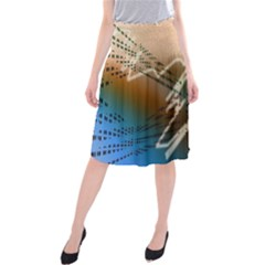 Pop Art Edit Artistic Wallpaper Midi Beach Skirt