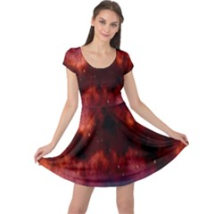 Astronomy Space Galaxy Fog Cap Sleeve Dress