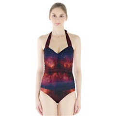 Astronomy Space Galaxy Fog Halter Swimsuit