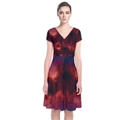 Astronomy Space Galaxy Fog Short Sleeve Front Wrap Dress