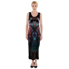 Abstract Background Texture Pattern Fitted Maxi Dress
