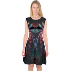 Abstract Background Texture Pattern Capsleeve Midi Dress