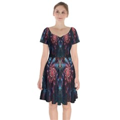 Abstract Background Texture Pattern Short Sleeve Bardot Dress