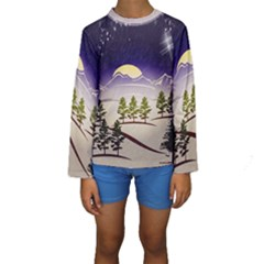 Background Christmas Snow Figure Kids  Long Sleeve Swimwear