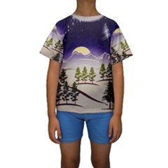 Background Christmas Snow Figure Kids  Short Sleeve Swimwear