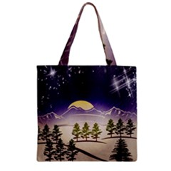 Background Christmas Snow Figure Zipper Grocery Tote Bag