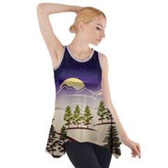 Background Christmas Snow Figure Side Drop Tank Tunic