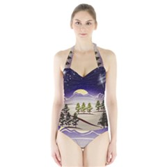 Background Christmas Snow Figure Halter Swimsuit