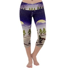 Background Christmas Snow Figure Capri Yoga Leggings