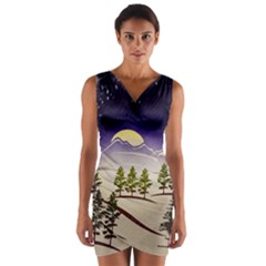 Background Christmas Snow Figure Wrap Front Bodycon Dress