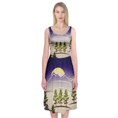Background Christmas Snow Figure Midi Sleeveless Dress