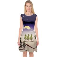 Background Christmas Snow Figure Capsleeve Midi Dress