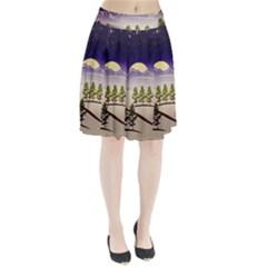 Background Christmas Snow Figure Pleated Skirt