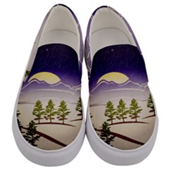 Background Christmas Snow Figure Men s Canvas Slip Ons