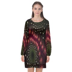 Background Texture Pattern Long Sleeve Chiffon Shift Dress