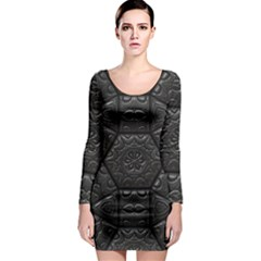 Emboss Luxury Artwork Depth Long Sleeve Bodycon Dress
