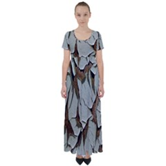 Dry Nature Pattern Background High Waist Short Sleeve Maxi Dress