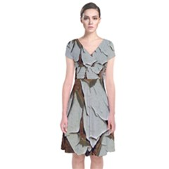 Dry Nature Pattern Background Short Sleeve Front Wrap Dress