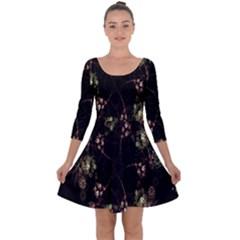 Fractal Art Digital Art Quarter Sleeve Skater Dress