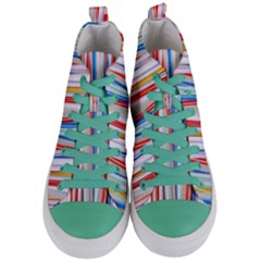 Background Decorate Colors Women s Mid Top Canvas Sneakers