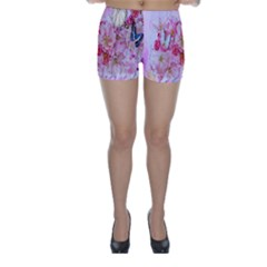 Nice Nature Flowers Plant Ornament Skinny Shorts