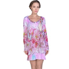 Nice Nature Flowers Plant Ornament Long Sleeve Nightdress