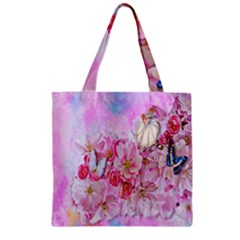 Nice Nature Flowers Plant Ornament Zipper Grocery Tote Bag by Nexatart