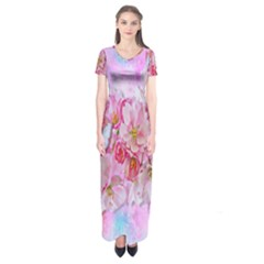 Nice Nature Flowers Plant Ornament Short Sleeve Maxi Dress