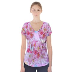 Nice Nature Flowers Plant Ornament Short Sleeve Front Detail Top