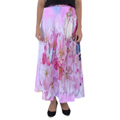 Nice Nature Flowers Plant Ornament Flared Maxi Skirt