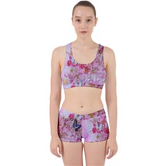 Nice Nature Flowers Plant Ornament Work It Out Sports Bra Set