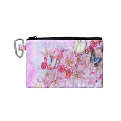 Nice Nature Flowers Plant Ornament Canvas Cosmetic Bag (small)