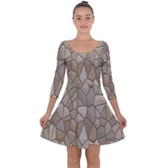 Tile Steinplatte Texture Quarter Sleeve Skater Dress