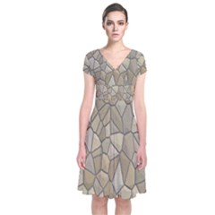 Tile Steinplatte Texture Short Sleeve Front Wrap Dress