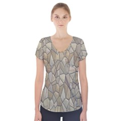 Tile Steinplatte Texture Short Sleeve Front Detail Top