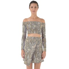 Tile Steinplatte Texture Off Shoulder Top With Skirt Set