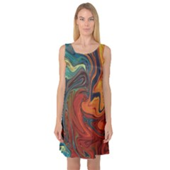 Creativity Abstract Art Sleeveless Satin Nightdress